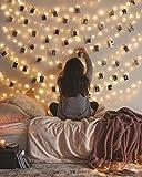 GHUSTAR 50 LED Photo Clip String Lights, 17Ft LED Fairy String Lights with 50 Clear Clips, Photo String Lights with Clips, Photo Hanging Clips String for Dorm Bedroom Wall Decor Wedding Decorations
