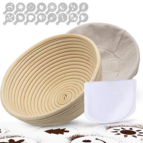 TGetWorth Banneton Pruebas Cesta 25 cm, banneton para Pan Incluye raspador de tazón, Funda de banneton de Lino, Plantillas de decoración de Pan de 16 Piezas para panaderos caseros