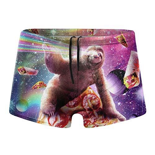 Traje de baño para hombre, diseño de perezoso arco iris, pizza, pierna cuadrada