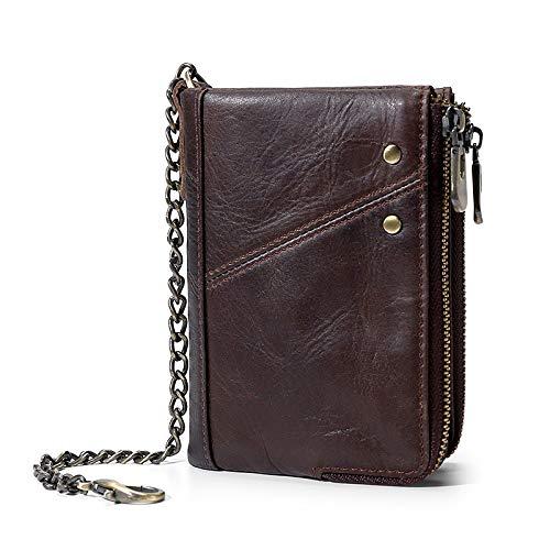 Die erste Schicht Rindsleder Herren GeldbörseRetro lässig Doppelreißverschluss Geldbörse Sicherheitsbürste Kurze Brieftaschebraun