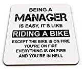 Being A Manager is Easy It's Like Riding A Bike Funny Novelty Glossy Mug Coaster