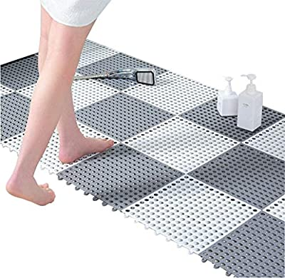 24pcs Interlocking Rubber Floor Tiles DIY Size Non-Slip Splicing Multi-Use Soft Mat with Massage Drain Holes Gray