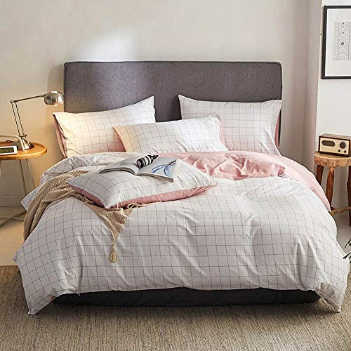 TheFit Paisley Bedding Home for Adult W1918 Pink Cozy Grid Duvet Cover Set Cotton, Twin Queen King Set, 3-4 Pieces (Queen)