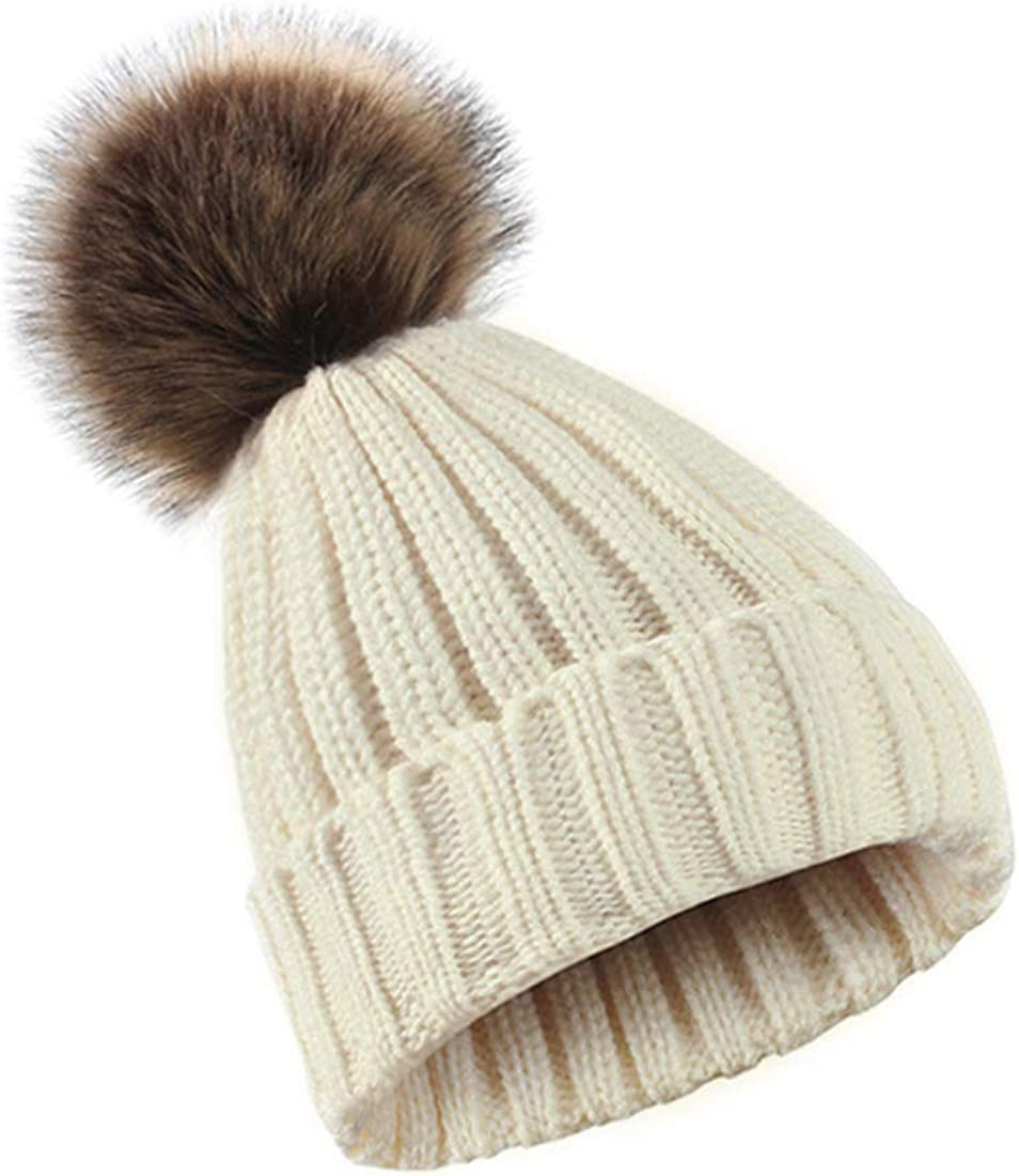 A surprise price is realized Durio Beanie Gifts Hat for Women Warm Pompom Knit Thick Winter