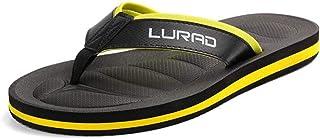 Gaodpz Summer Men's Flip-flops, Non-slip Flat Sandals (Color : Yellow, Size : L)