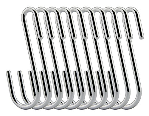RuiLing Chrome Finish Steel S hook Cookware Universal Pot Rack Hooks Sturdy Hanging Hooks - Multiple uses for Kitchenware  Pots  Utensils  Plants  Towels - Set of 10