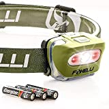 Foxelli LED Headlamp Flashlight - for Adults & Kids, Running, Camping, Hiking Head Lamp with White & Red Light, Lightweight Waterproof Headlight with Comfortable Headband, 3 AAA Batteries Included