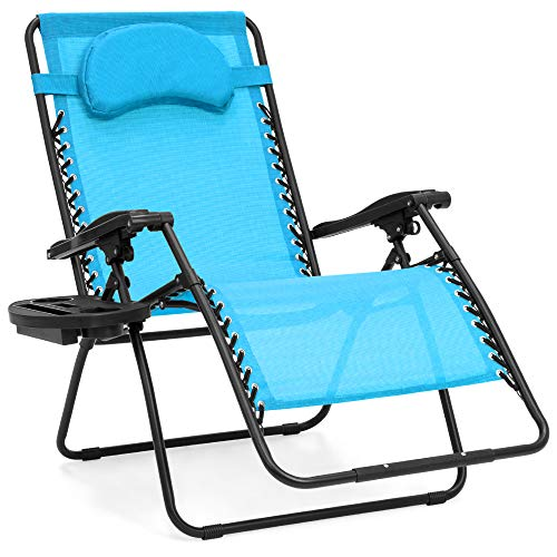 Best Choice Products Oversized Zero Gravity Chair, Folding Outdoor Patio Lounge Recliner w/Cup Holder Accessory Tray and Removable Pillow - Light Blue