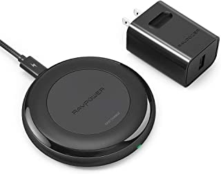 RAVPower Fast Wireless Charger Compatible iPhone Xs MAX XR XS X 8 & 8 Plus, Wireless Charging Pad for Galaxy S9 S8+ S8 S7 Edge S7 and All Qi-Enabled Devices (QC 3.0 Adapter Included)