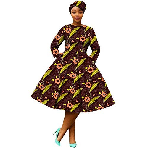 African Dresses for Women Party wear Flower Floral Fashion Culture Vintage+Headwrap 35×45 inch