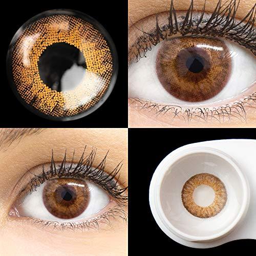 GLAMLENS lentillas de color marrones Flora Brown + contenedor. 1 par (2 piezas) - 90 Días - Sin Graduación - 0.00 dioptrías - blandos - Lentes de contacto marrón de hidrogel de silicona