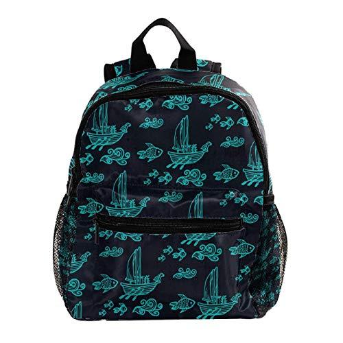 Mochila escolar para niños, mochila escolar, diseño de pájaro blanco con fondo azul marino