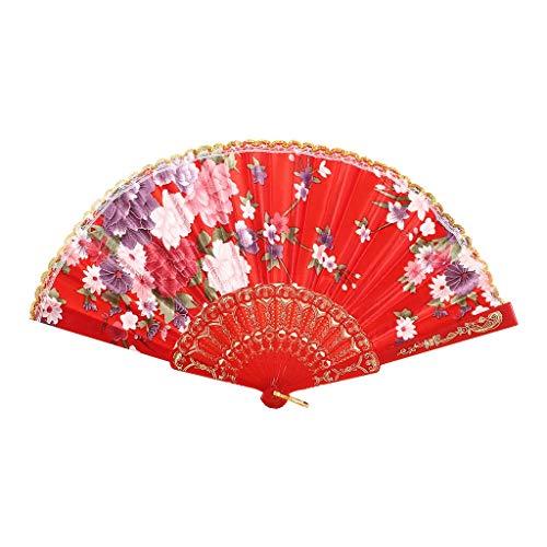 XINTIAN Abanicos plegables de belleza estilo chino para baile o boda, abanico de mano plegable con...
