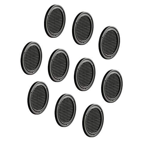 Gedotec Möbel-Gitter Tür & Bad Lüftungsgitter rund Abluftgitter braun für Möbel & Wohnmobil | Belüftungsgitter Ø 60 mm | Türgitter Kunststoff | 10 Stück - Lüftungsloch zum Belüftungen & Insektenschutz