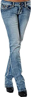 Women's Slim Fit Low Rise Jeans Stretch Straight Embroider Bootcut Denim Pants