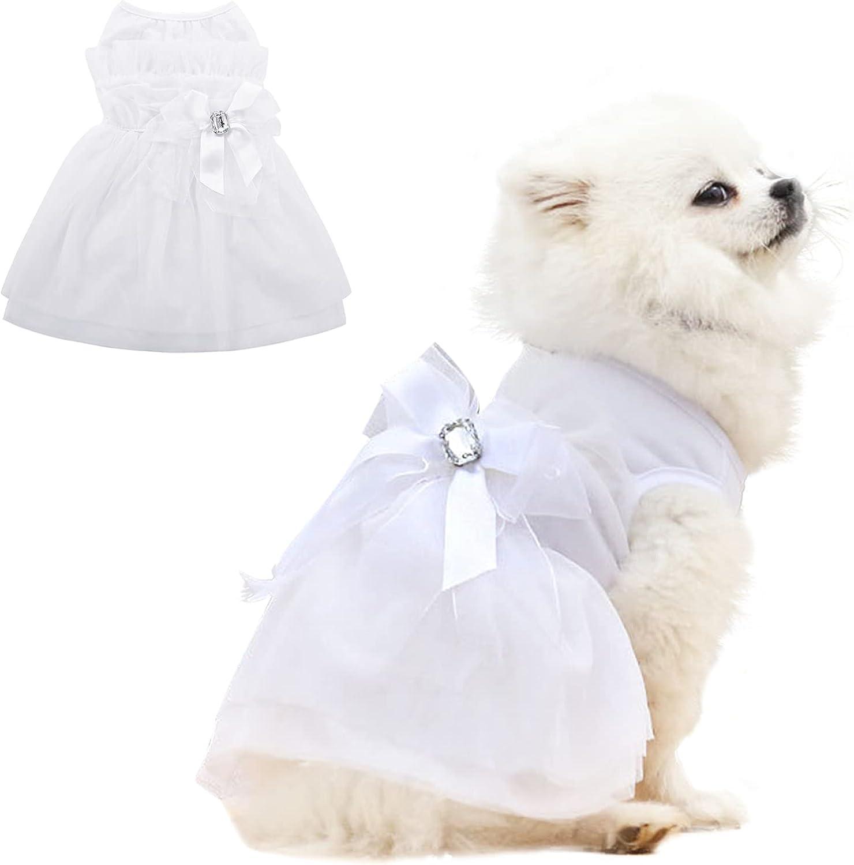 MORVIGIVE Max 43% OFF Dog Wedding Dress with Gifts Formal Bowknot Crystal Princ