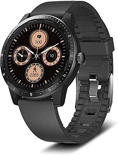 2021 Reloj Inteligente IP68 Impermeable 1.28 Pulgadas Batería 15 Días con Temperatura Corporal y Seguimiento Salud y Deportes 20 Modos para IOS y Android (Negro)