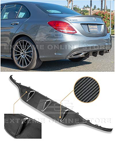 Extreme Online Store Replacement for 2015-2018 Mercedes Benz W205 C-Class AMG Sport Style Carbon Fiber Rear Bumper Lower Diffuser