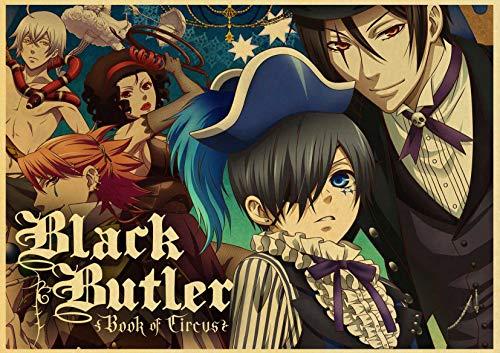 H/A Vintage Cartoon Japanischen Anime Black Butler Retro Poster Leinwand Malerei Gedruckt Wand Poster Für Home Bar Cafe Zimmer Wandaufkleber Z568 50 * 70 cm