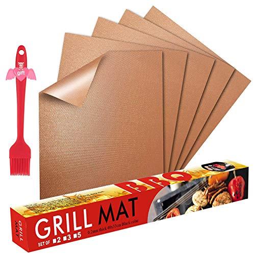 Fly5D BBQ Grillmatte Wiederverwendbare Backmatte (5er Set) mit Antihaftbeschichtung bis 260°C - inklusive Backpinsel - geeignet für Jede Art von Grill & Backofen (Kupfer)