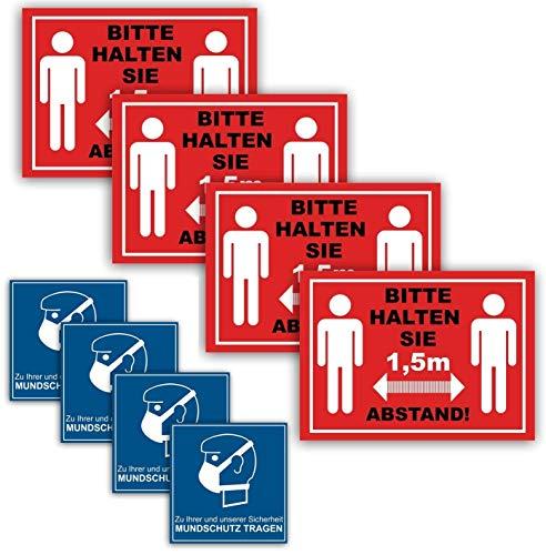 Bitte halten Sie Abstand Aufkleber 1,5m Abstand halten Sicherheitsabstand im Zuge des Corona Virus COVID 19 … (23er Set Abstand halten Mundschutz tragen)