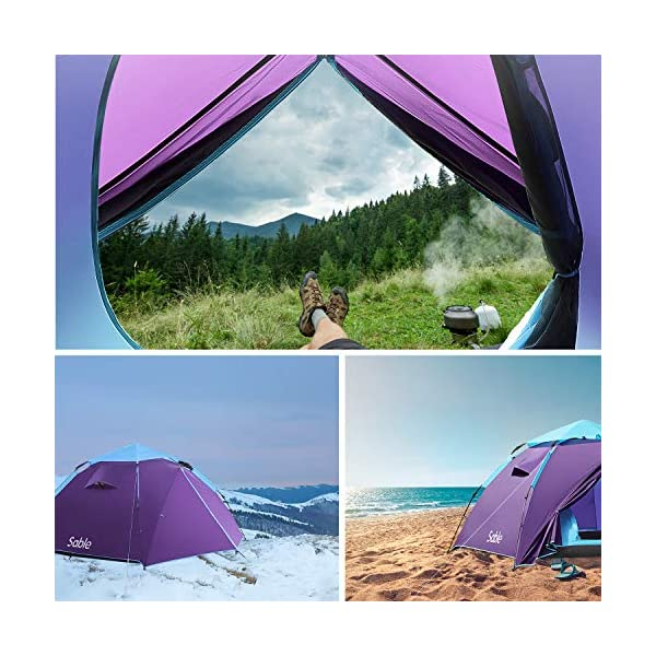 Sable Pop Up Beach Tent Purple, Sun Shelter 2 3 Man Tent for Kids Adults Windproof Waterproof and Quick Set-up, with Carry Bag for Outdoor Garden, Camping, Fishing, Picnic 2