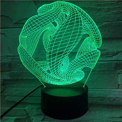 Lámpara 3D de noche con diseño de bola abstracta 3D con iluminación LED, USB, táctil, RGB 7 colores, decoración para el escritorio, regalo de cumpleaños para niños