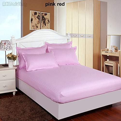 Hoeslaken, eenkleurig, hotelkwaliteit, 5 sterren, hoeslaken van 100% katoen, satijn, met elastiek, 360 graden, Queen-Size 2 kussenslopen, 200 x 200 x 25 cm, roze rood