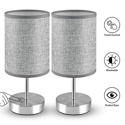 Touch Control Table Lamp, MOICO 3-Way Dimmable Bedside Lamps with Silver Metal Base and Linen Fabric Shade, Modern Nightstand Lamps for Bedroom, Living Room, Kids Room, Office, College Dorm, Set of 2
