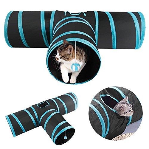 Yaheetech 3-Wege-Spiel Tunnel Faltbarer Katzentunnel Katze Spielzeug Hundenspielzeug Spieltunnel für Katze Hunde und Kleintiere Blau