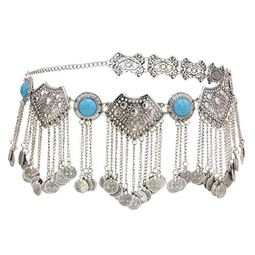 idealway Vintage Turkish Gypsy Alloy Coin Belly Body Chain Waist Chain Beach Bohemian Festival Body Coin Belt Belly Jewelry for Women … (Body Chain Blue)