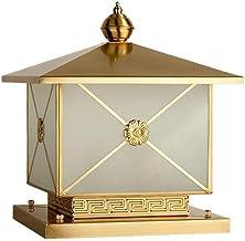 ZZYJYALG Antirust Volledige Koper Metalen Glas Retro Kolom Lamp Lantaarn IP55 Waterdichte Vintage Gouden Hek Post Bolder L...