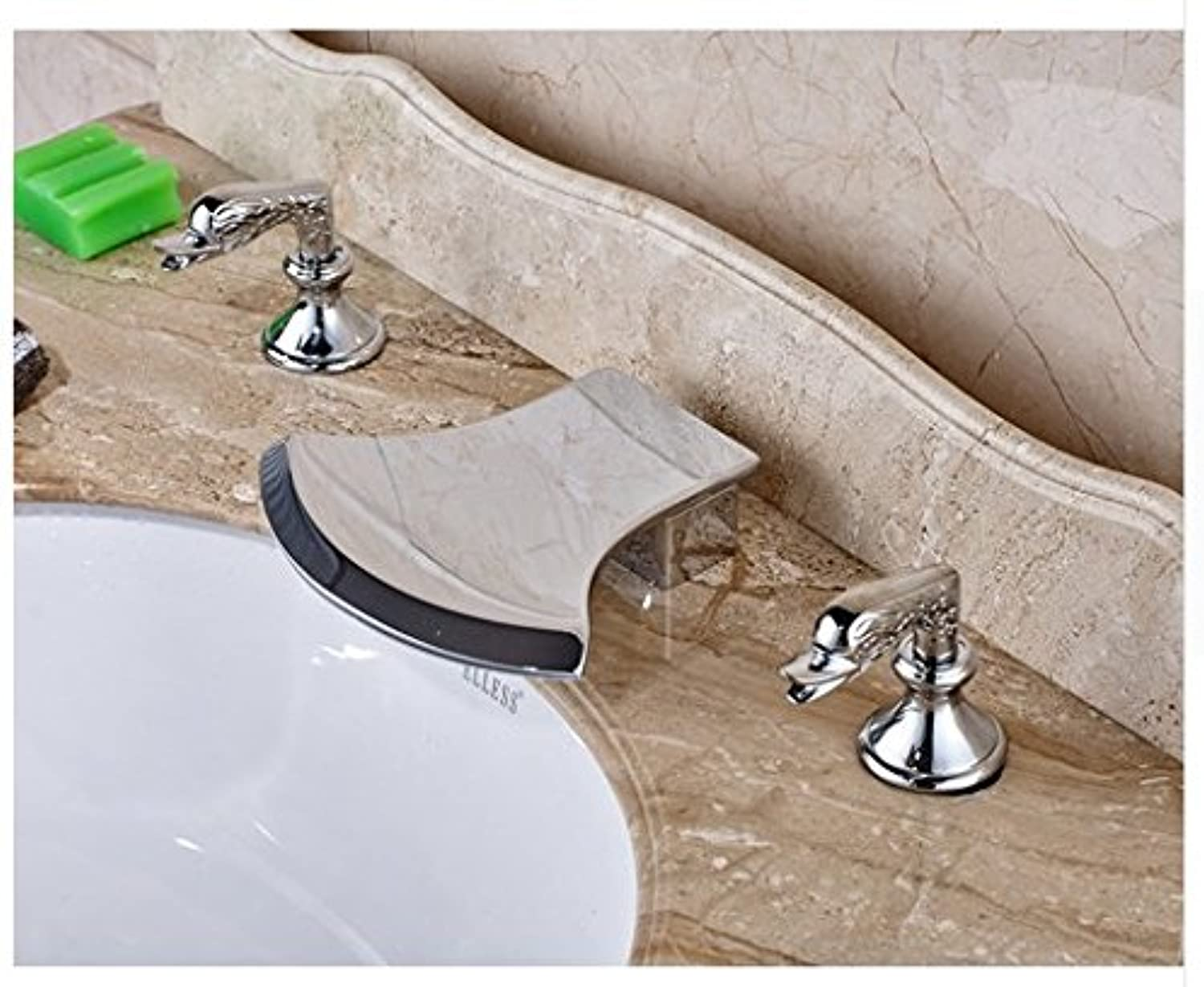 Gowe? Axe Design Waterfall Spout Bathroom Sink Faucet Widespread 3pcs Mixer Tap Chrome Finished