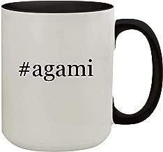#agami - 15oz Hashtag Colored Inner & Handle Ceramic Coffee Mug, Black