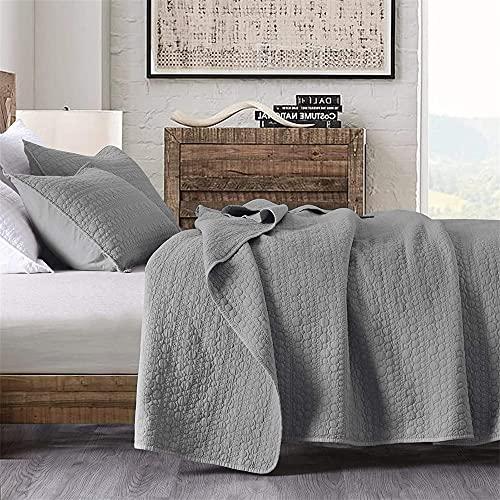 HORIMOTE HOME Tagesdecke für Doppelbett, grau, klassische geometrische Punkte, genähtes Muster, StoneWashed Mikrofaser, gesteppte Tagesdecke für alle Jahreszeiten, 3-teiliges Set