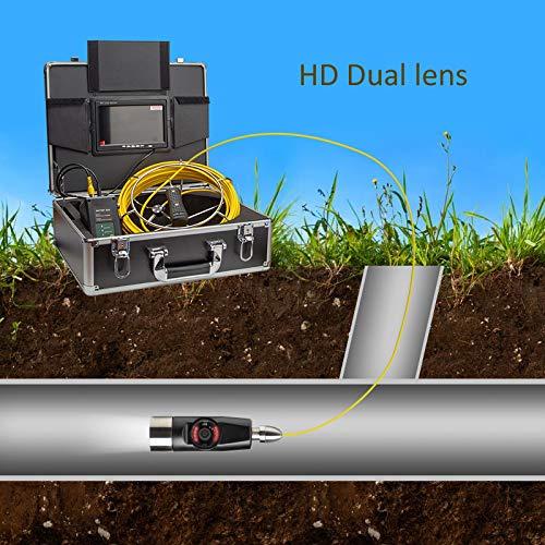 XIAODONGDONG Doppelobjektiv-Tubus-Endoskop Doppelobjektiv-Tubus-Kamera Rohrinterner Inspektionsdetektor Unterwasser-Straßeninspektionskamera,180M