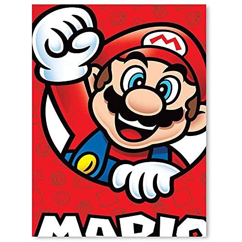 Leinwandbild, Motiv: Super Mario Nintendo Poster, handgemaltes Leinwandbild, 30,5 x 40,6 cm