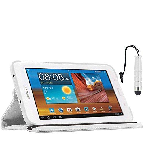 ebestStar - kompatibel mit Samsung Galaxy Tab 3 Lite 7.0 Hülle SM-T110, VE SM-T113 Rotierend Schutzhülle Etui, Schutz Hülle Ständer, Rotating Cover +Stift, Weiss [Tab: 193.4x116.4x9.7mm 7.0