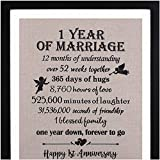 Framed 1st Anniversary Burlap Print 11' W X 13' H, 1 Year Anniversary Gifts, 1st Anniversary Gifts for Couples