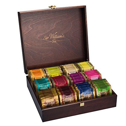 SIR WILLIAM'S TEEKISTE - Hochwertige Massivholzkiste mit ausgewählten Teesorten. 180 Stk. Teebeutel. 12 Geschmäcke je 15 Stk.