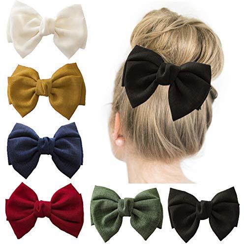 6pcs donne ragazze grandi fiocchi per capelli fermagli per capelli eleganti mollette per capelli bowknot accessori per capelli in tessuto per la festa nuziale