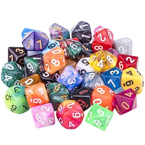 SIQUK 35 Piezas Dados de rol Poliédrico 10 Caras Dados de Colores para DND y Enseñanza de Matemáticas, con Bolsas
