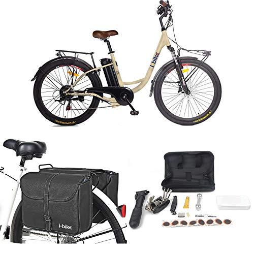 i-Bike City Easy S ITA99, Bicicletta elettrica a pedalata assistita Unisex Adulto, 46 cm, Colori assortiti, 1 pezzo + Borse da Trasporto + Kit Riparazione + Supporto Universale per Smartphone