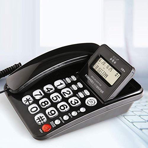 qwertyuio Teléfono Vintage con Pantalla De Teléfono Fijo con Cable, Calculadora Básica Y Teléfono con Botón Grande Y Cable con Altavoz Teléfono Residencial para Oficina Y Negocios - Negro