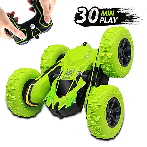 Seckton Remote Control Stunt Cars for Kids, Toys for Ages 6-12 Year Old Boys Girls, 4WD 2.4GHz Off Road Truck, Double Sided 360° Rotating RC Car Christmas Birthday Gifts(All Batteries Included)