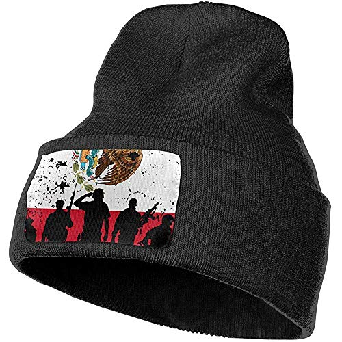 leyhjai Bandera de México Soldados Veteranos Gorra de esquí Hombres Mujeres Sombreros de punto Gorro elástico suave, 18 (W) X 30 (H) cm