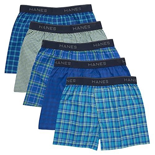 Hanes Boys' Boxer 5 Pack, Tartan, Medium (Colors may vary)