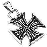 Colgante de biker con cruz de Malta de acero quirúrgico cromado