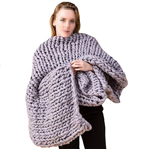 WWL Knitted Blanket Soft Cozy Polyester Bulky Blankets Super Large Chair Mat Blanket Chunky Knit Throw Blanket For Bedroom Home Decor Blanket Chunky Knitted Blanket Handmade
