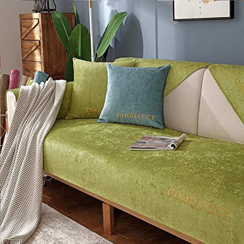 funda sofa combinables,Protector sofás,Funda para sofá Good Lucky,fundas para sofá de sala de estar / tienda,protectores de sofá de chenilla antideslizantes para sofá de 2/3/4 plazas-verde_Los 70 * 1
